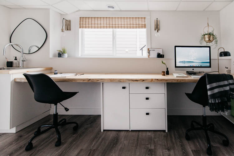 DIY Dream desk- wall to wall live edge