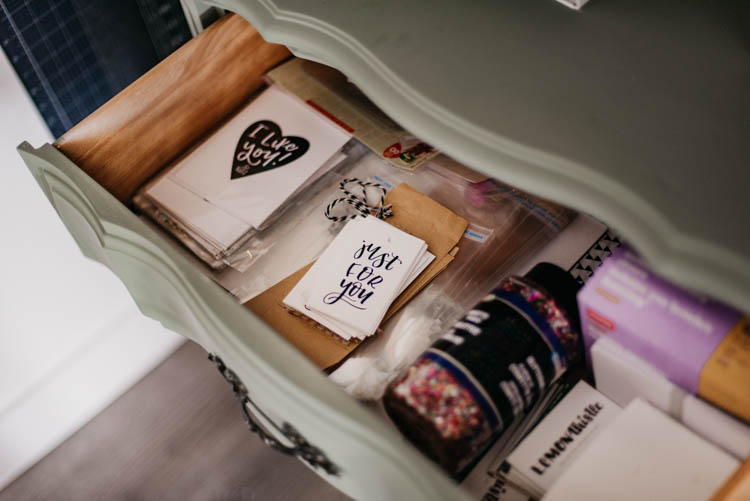 Dresser for craft supplies in an office studio