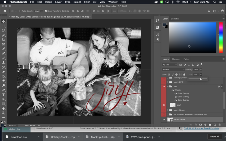 How to change the transparency of an overlay in photoshop (simple holiday card tutorial)