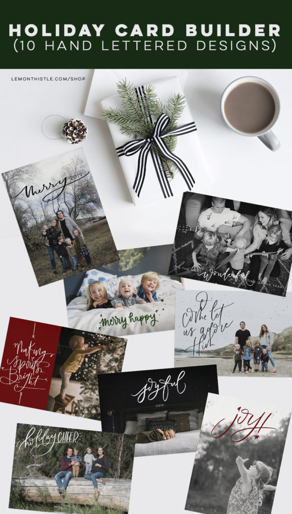 Hand lettered holiday card bundle- such great editable designs!