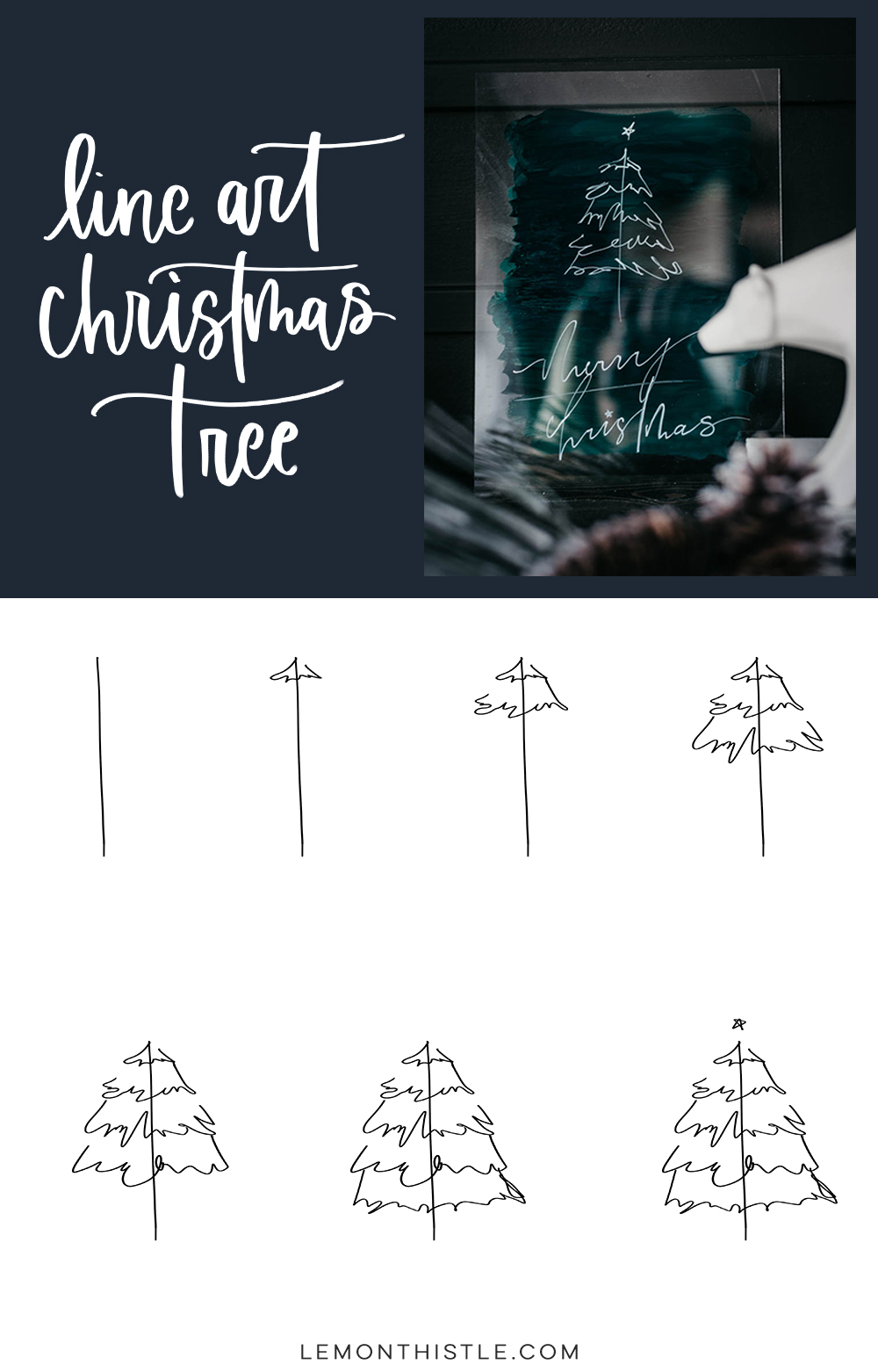 Step by step line art christmas tree tutorial