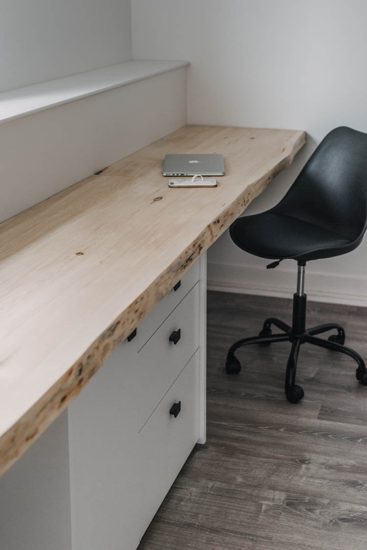 DIY Wall to Wall Desk... and the easiest live edge tabletop!
