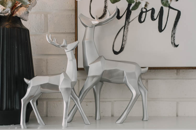 Geometric Silver Reindeer for a modern christmas mantel