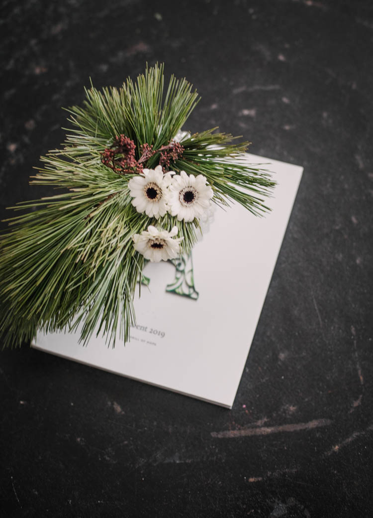 Simple winter floral arrangement