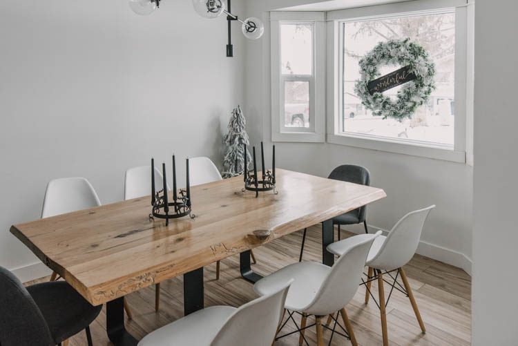 Simple modern dining room decorated for Christmas