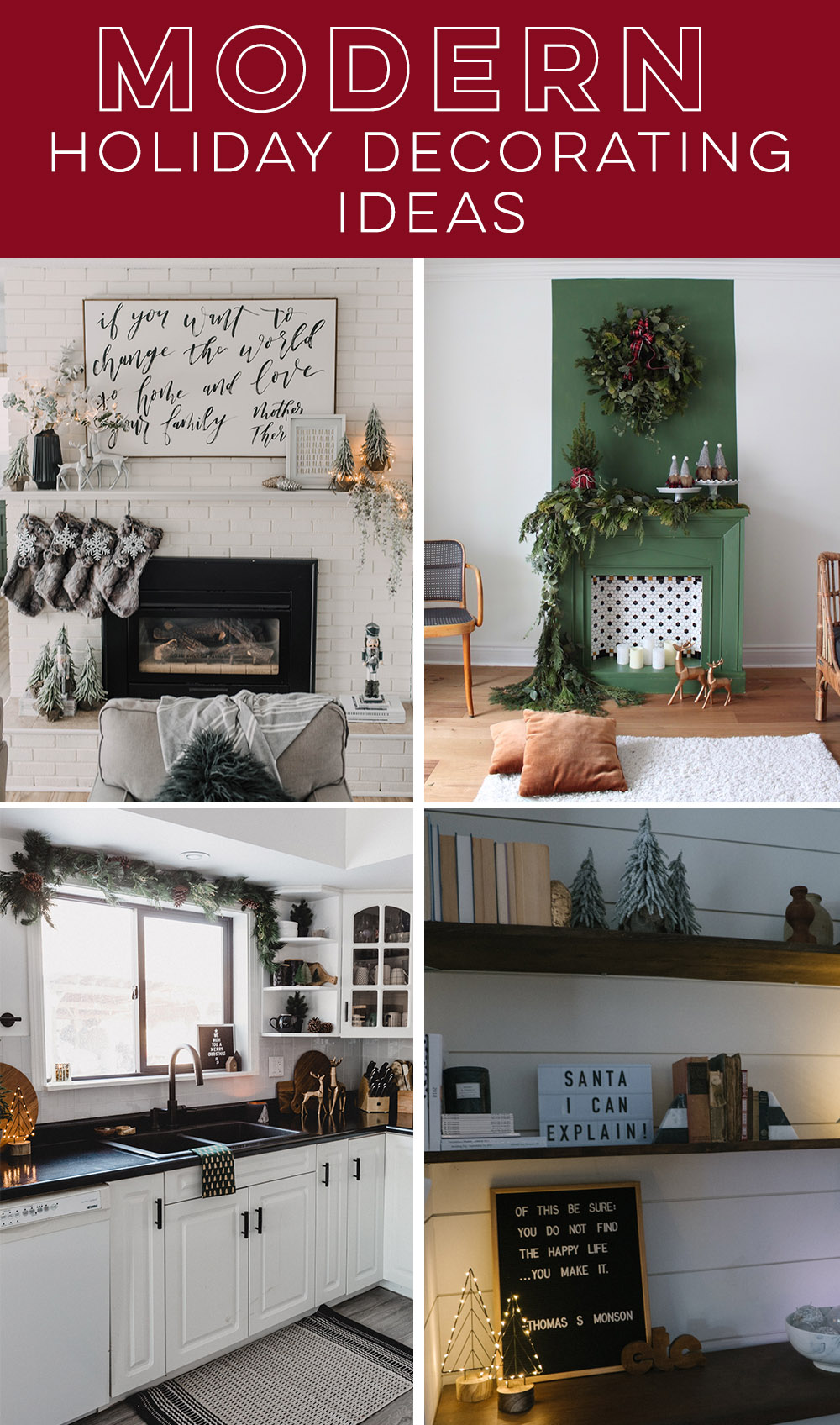 Modern holiday decorating ideas- love those mantels!