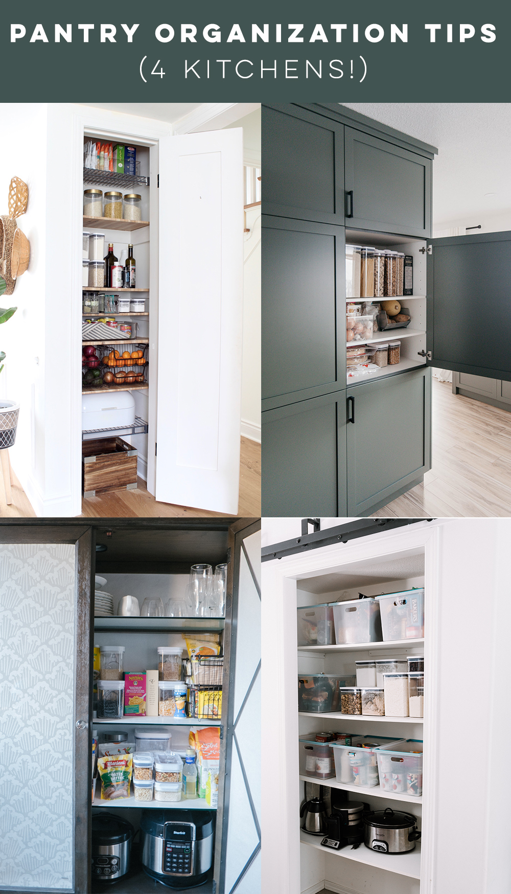 Pantry organization tips- 4 kitchens!