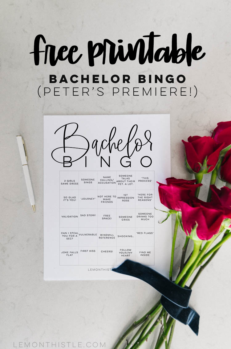 bachelor bingo! free printable bingo cards for your bachelor viewing part (pilot pete's season)