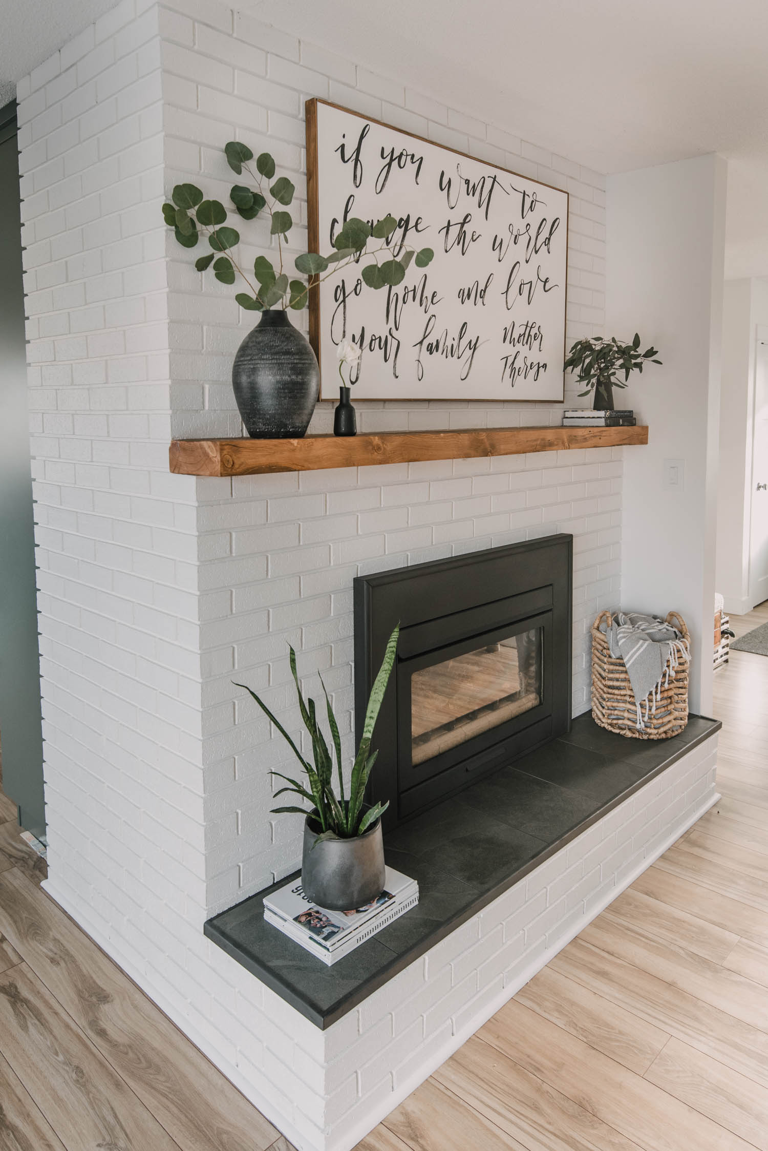 Modern Rustic DIY Fireplace Makeover