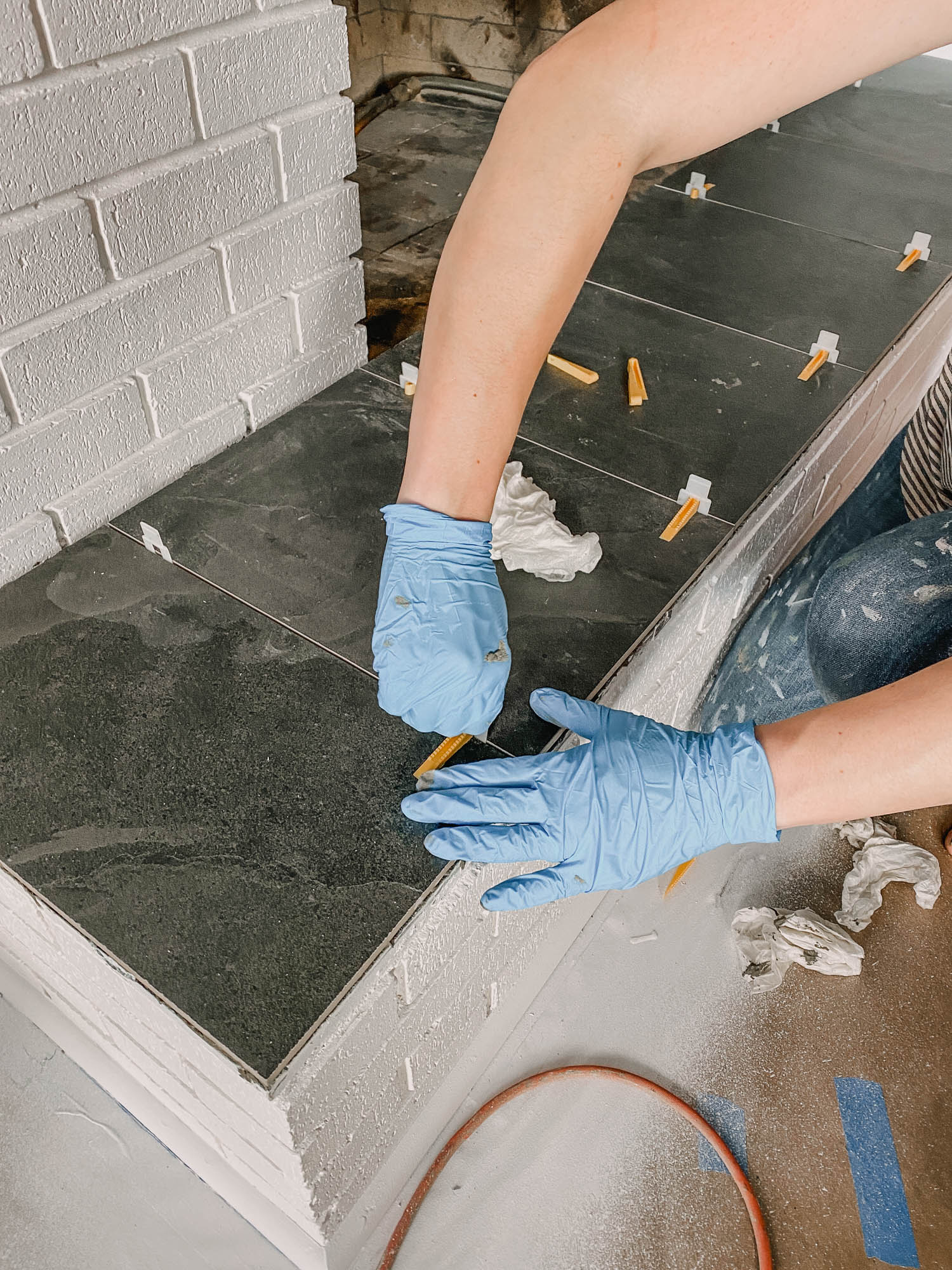 How to tile over a marble hearth