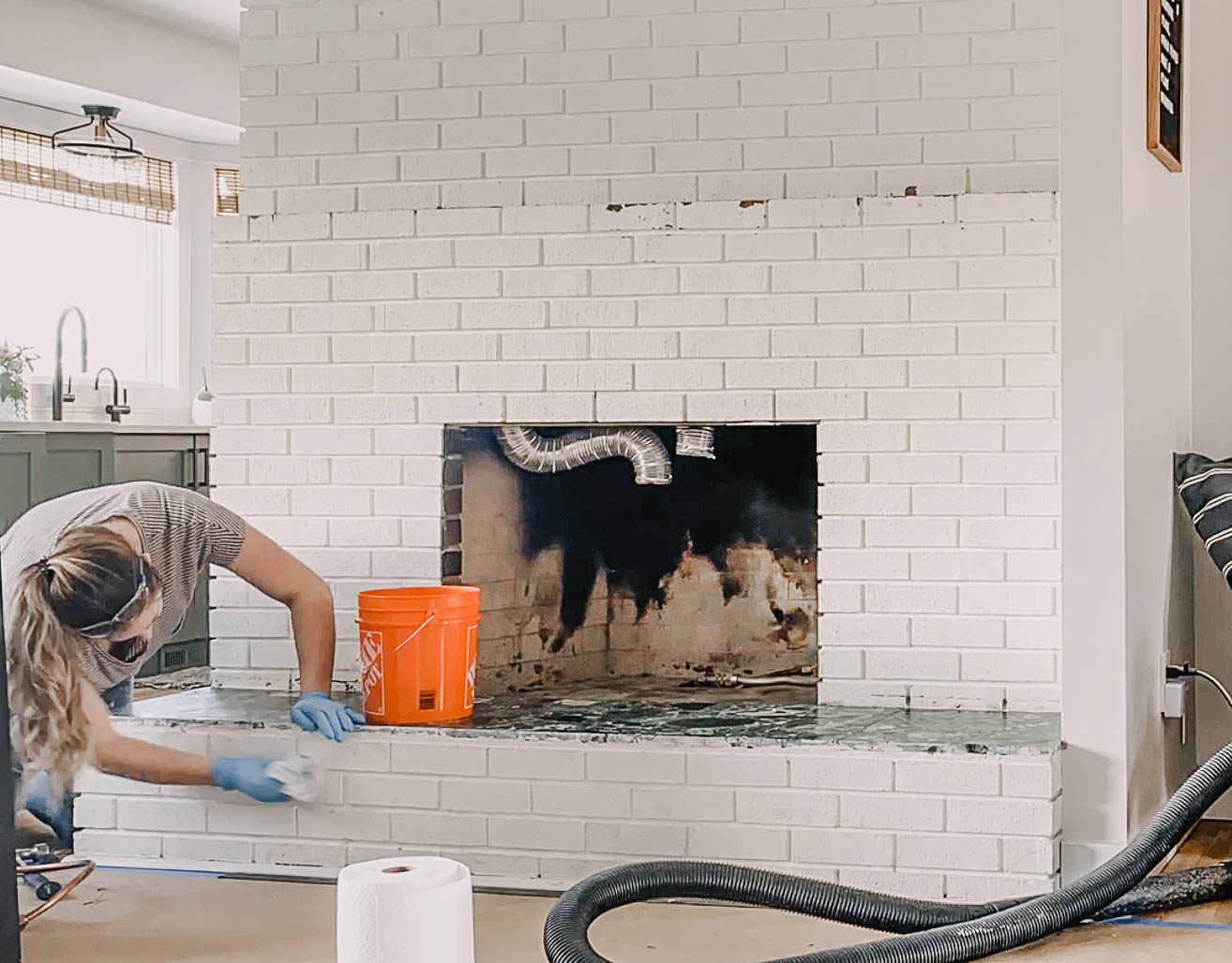 How to clean brick before painting- DIY fireplace makeover
