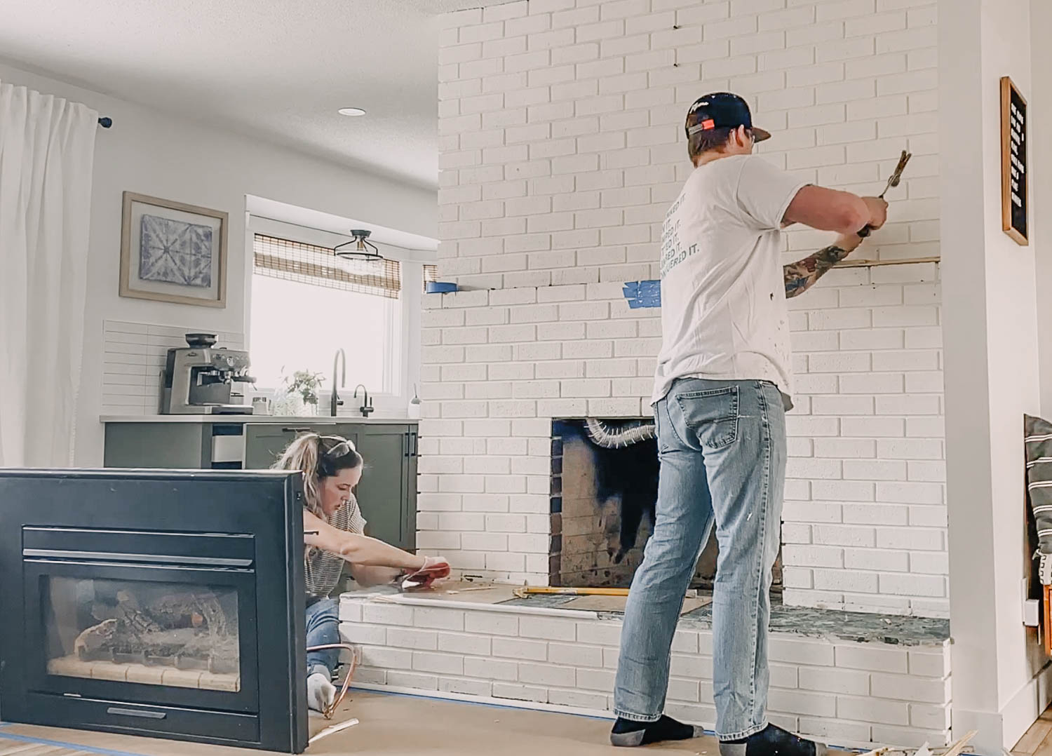 How to paint a brick fireplace with gas insert