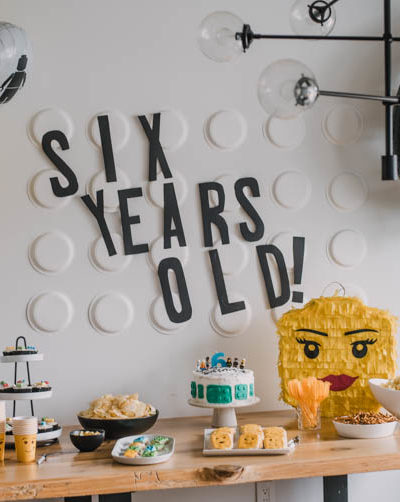 Modern LEGO themed birthday party for twins