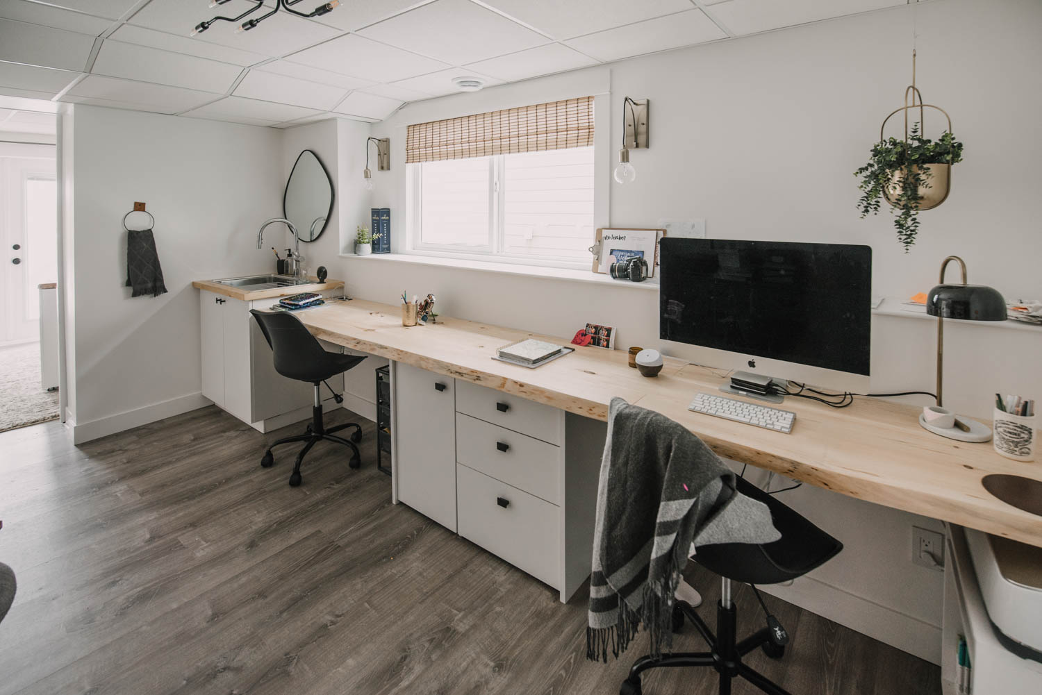 Basement Office Space with room for kids to do homework while mom works