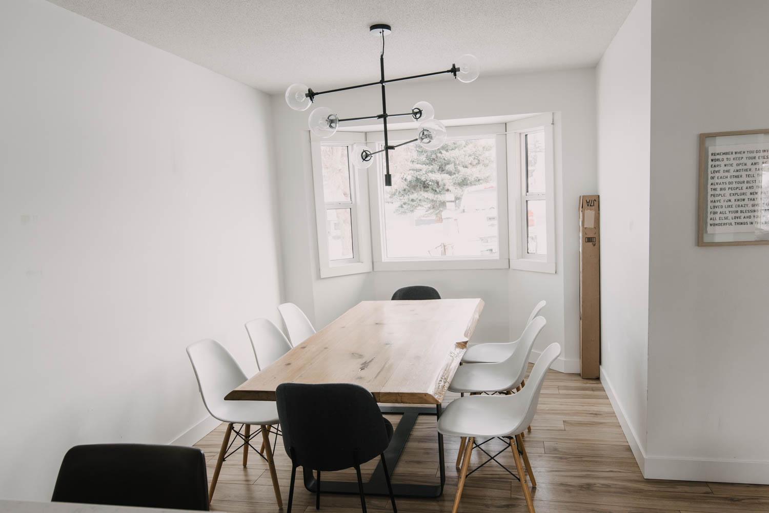 Modern Dining Room Renovation with Bay Window