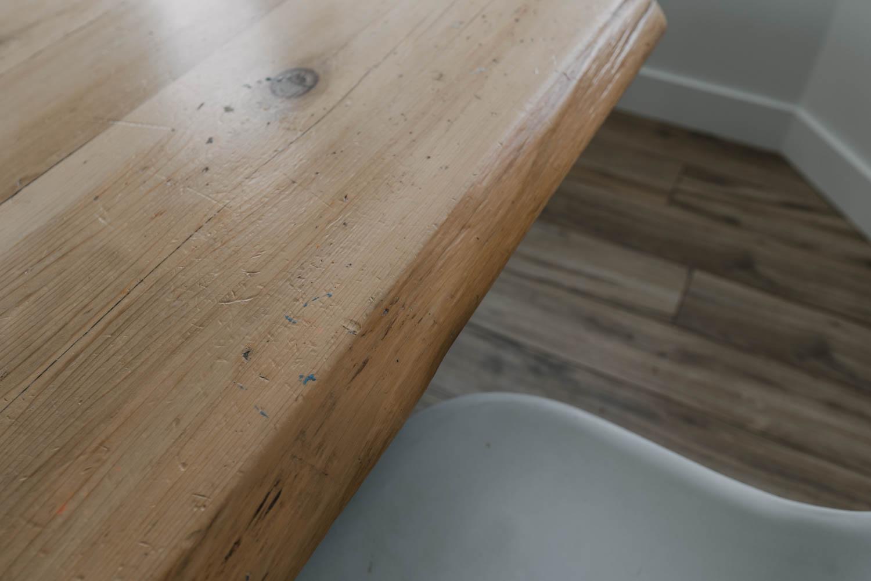 Soft Wood Live Edge Table before Refinishing