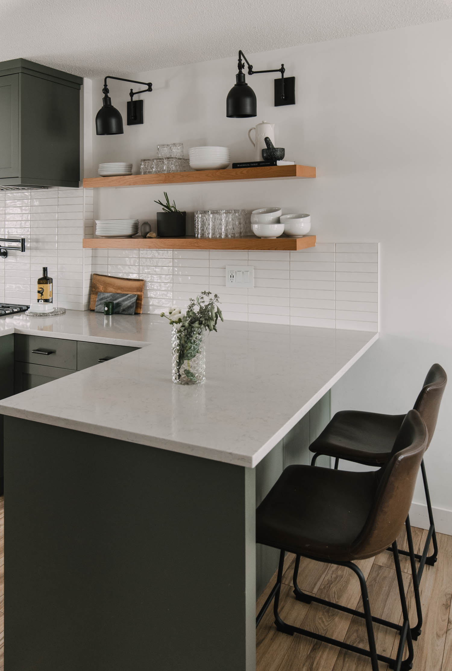 Modern kitchen remodel with long open shelves