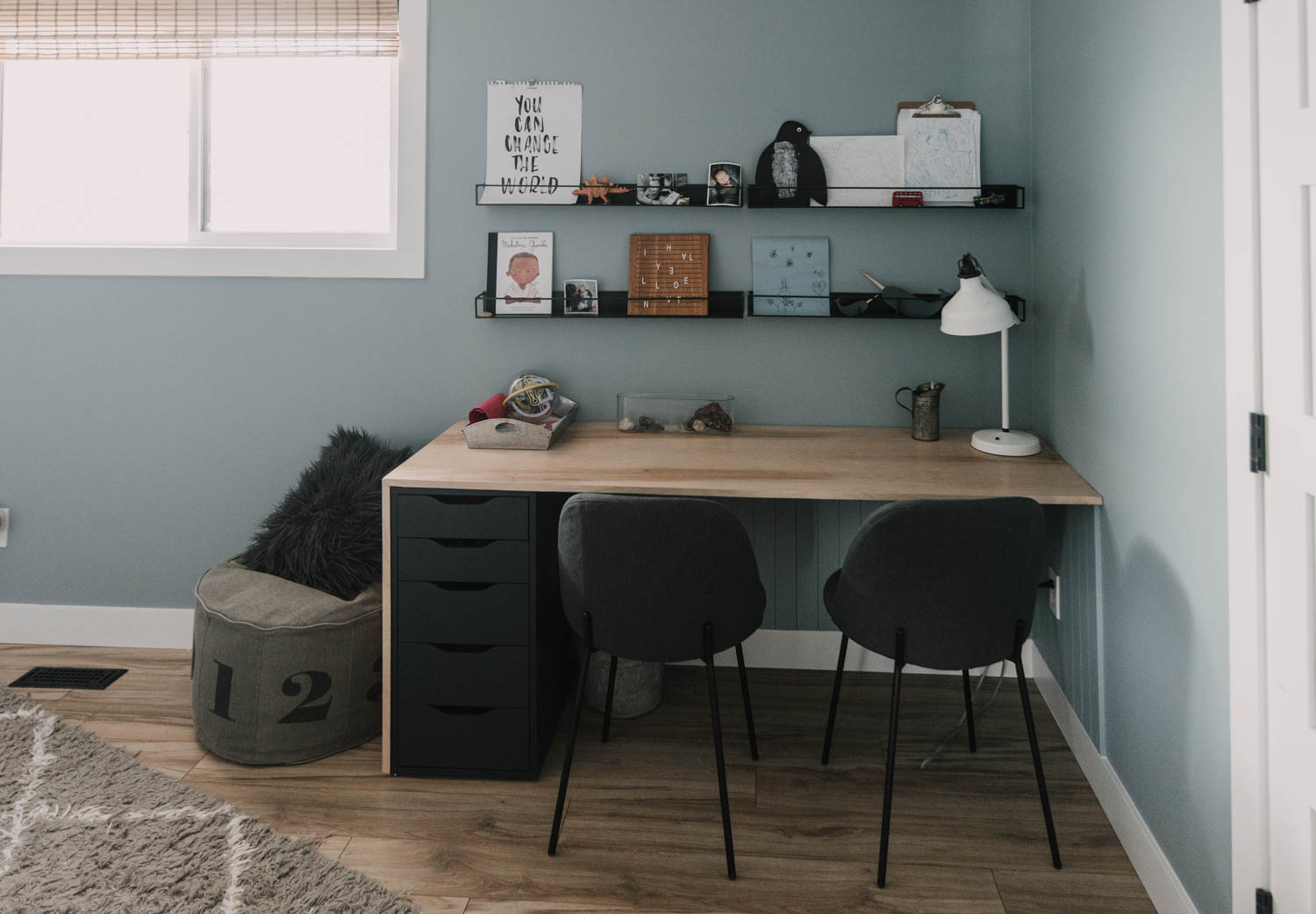 Shared Boys Bedroom with lots of room to create at a built in desk