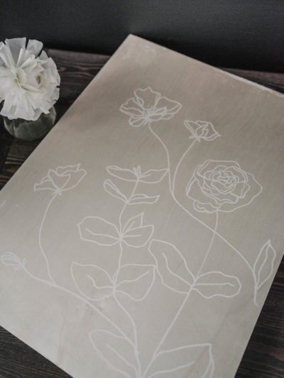 Simple spring decor from the dollar store- modern line art florals