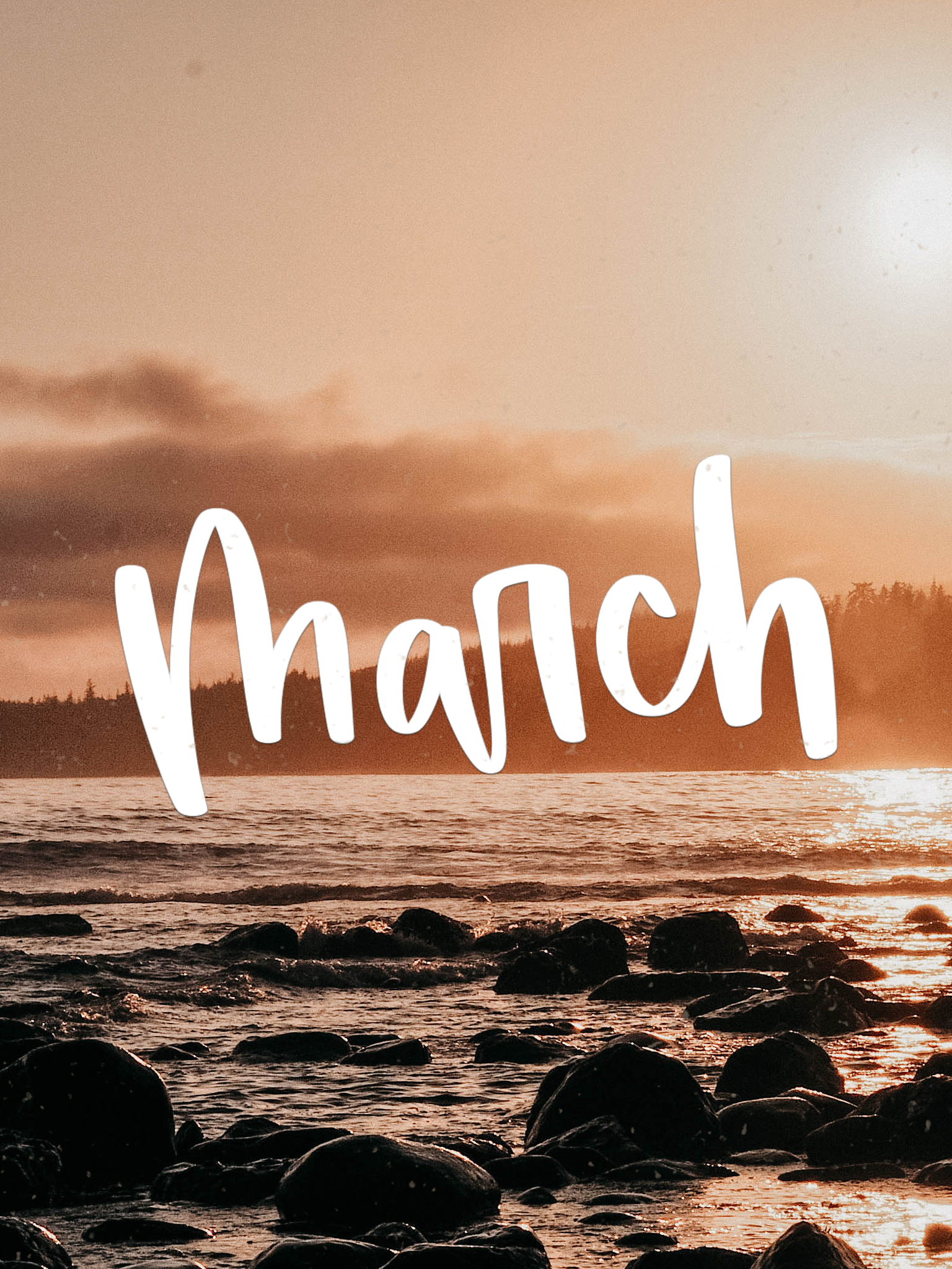 Tablet Background for March, Handlettered Script