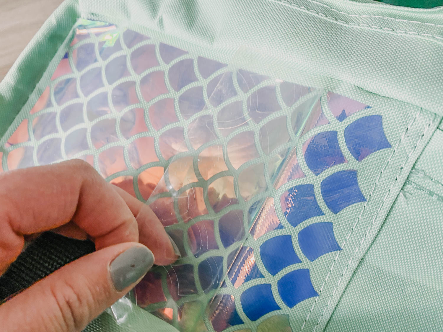 Holographic Iron On to Backpacks