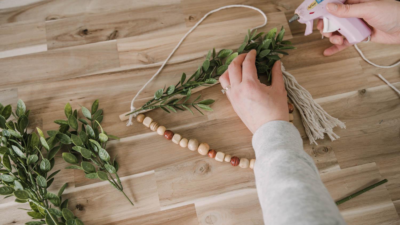 DIY Dollar Store Wreath for Spring- Boho Style Step by step photos