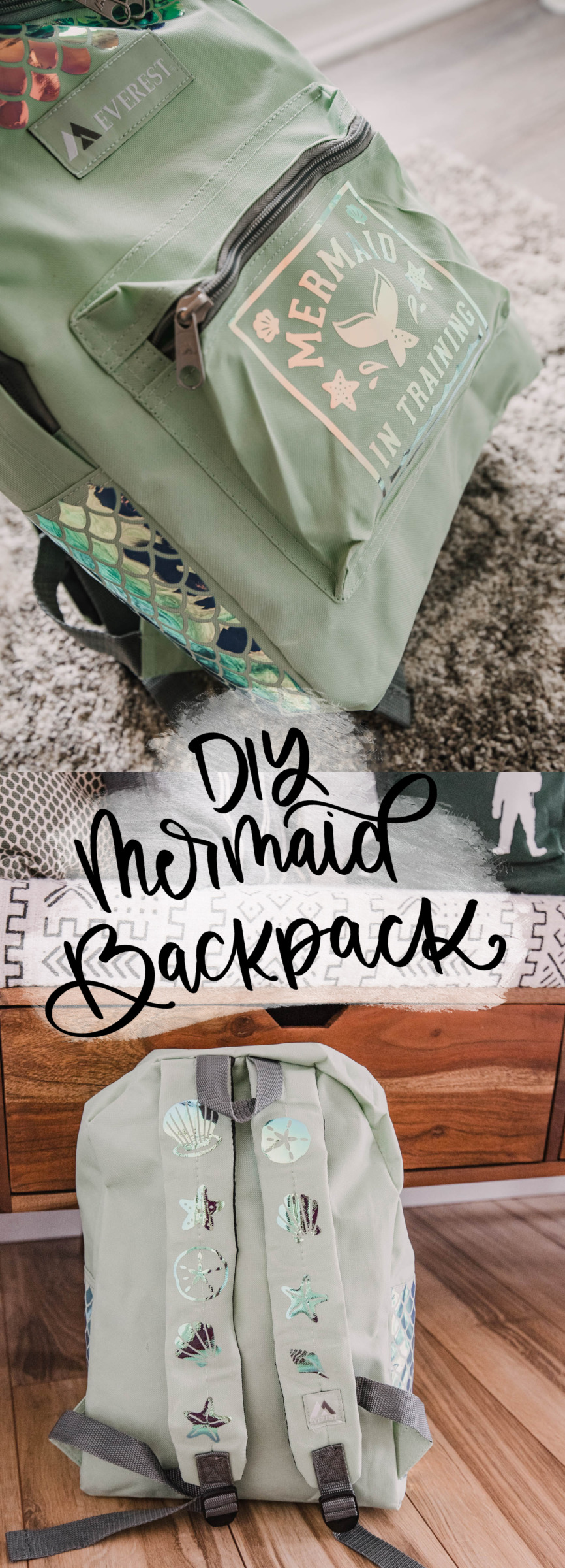 DIY Mermaid Backpack using Holographic Iron On
