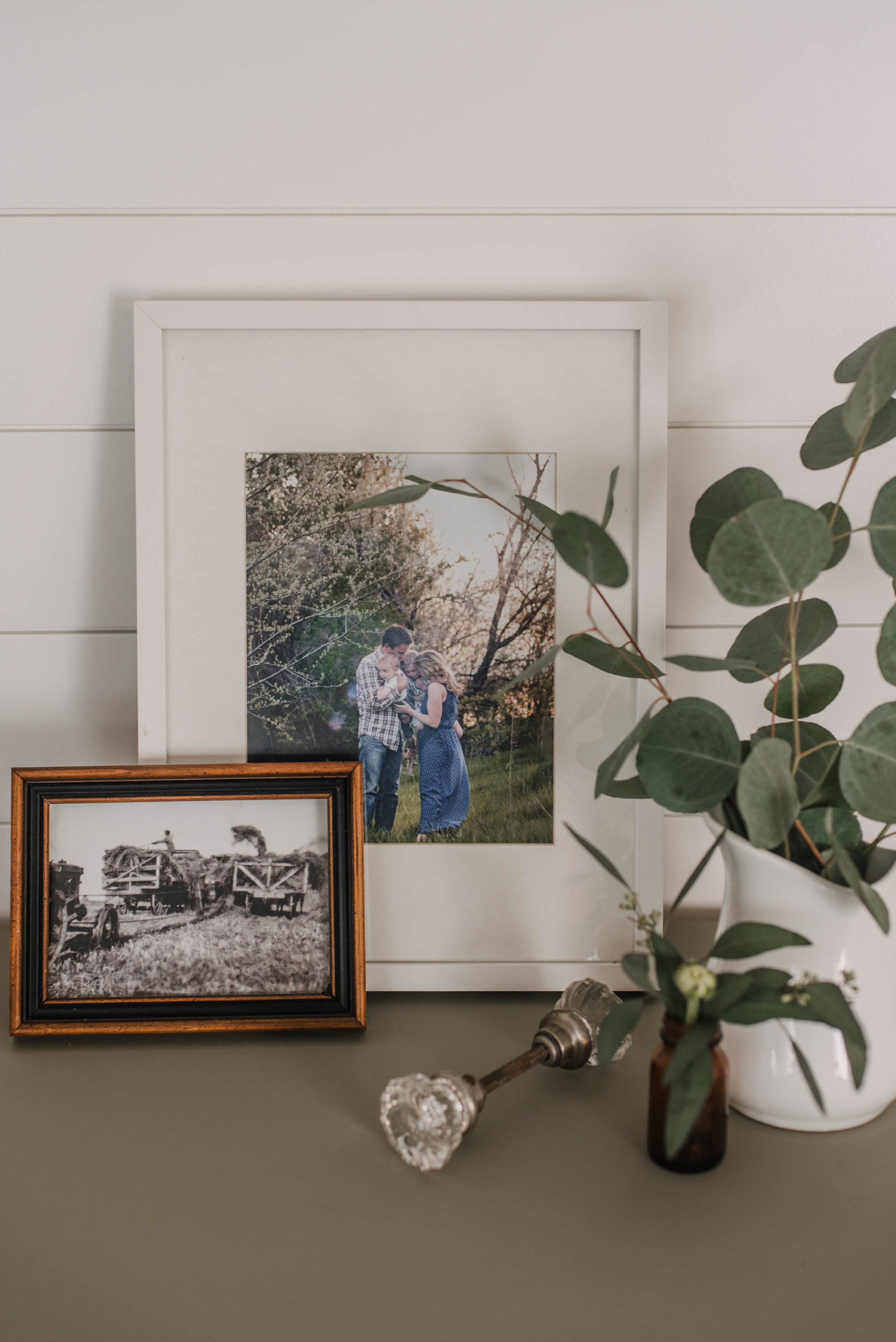 farmhouse decor- vignette of photos on the farm