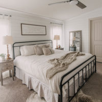 DIY Farmhouse Bedroom Makeover with shiplap walls and linen bedding