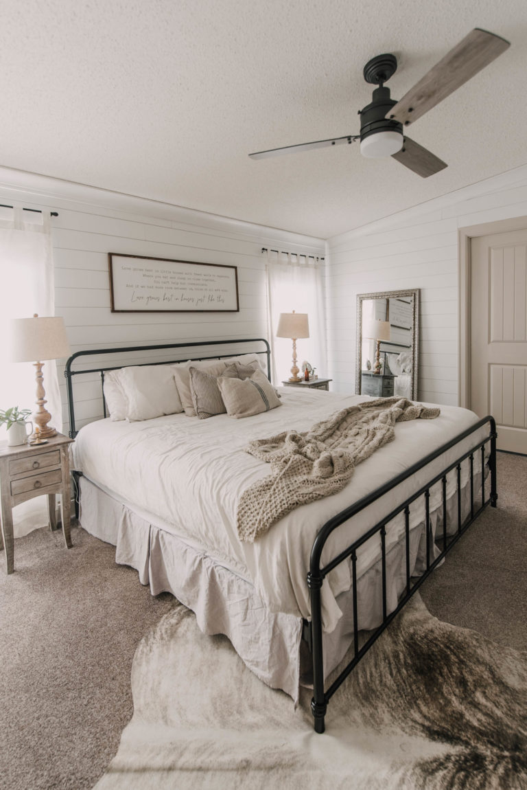 diy farmhouse bedroom makeover mobile home renovation
