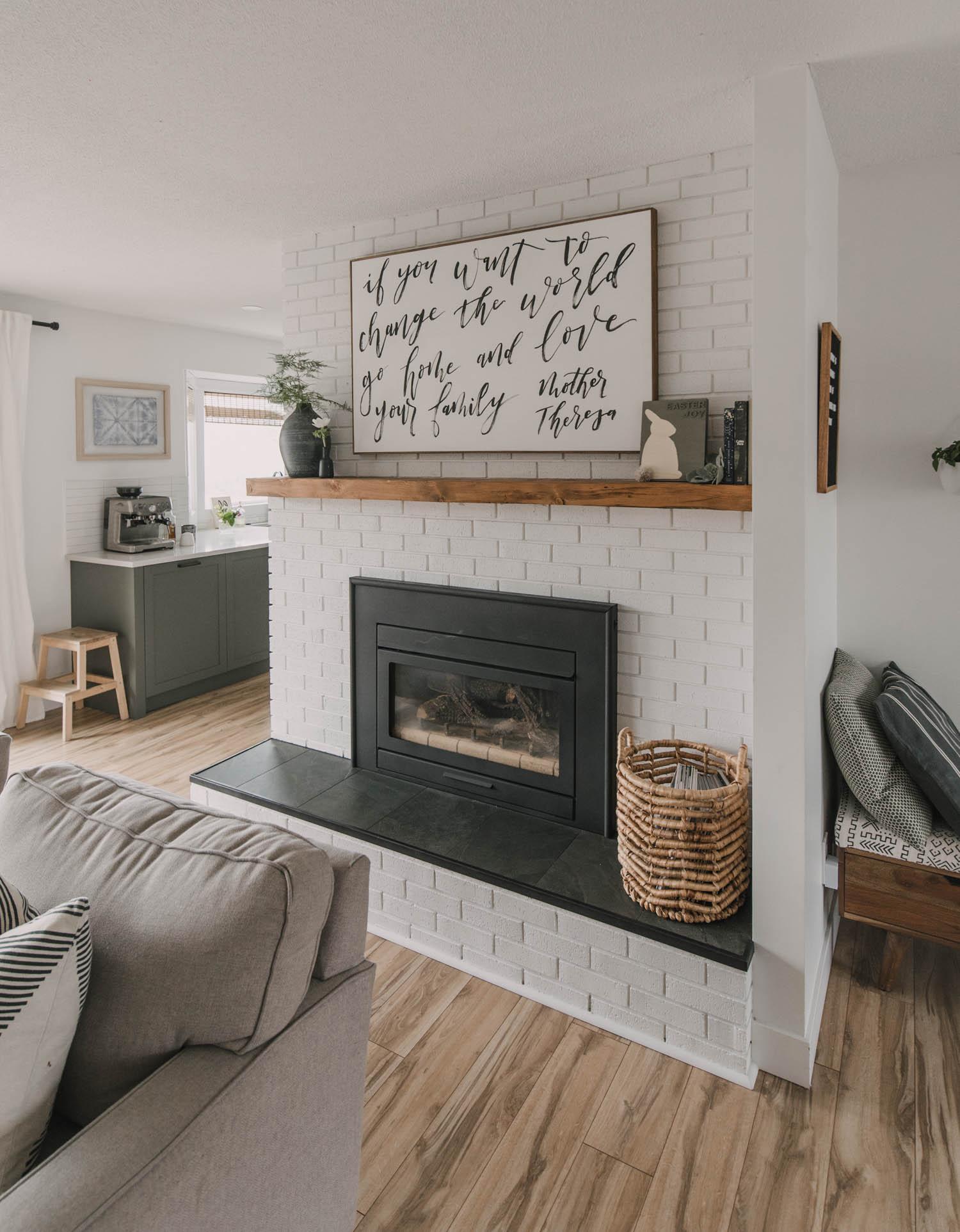 Modern spring mantel decor