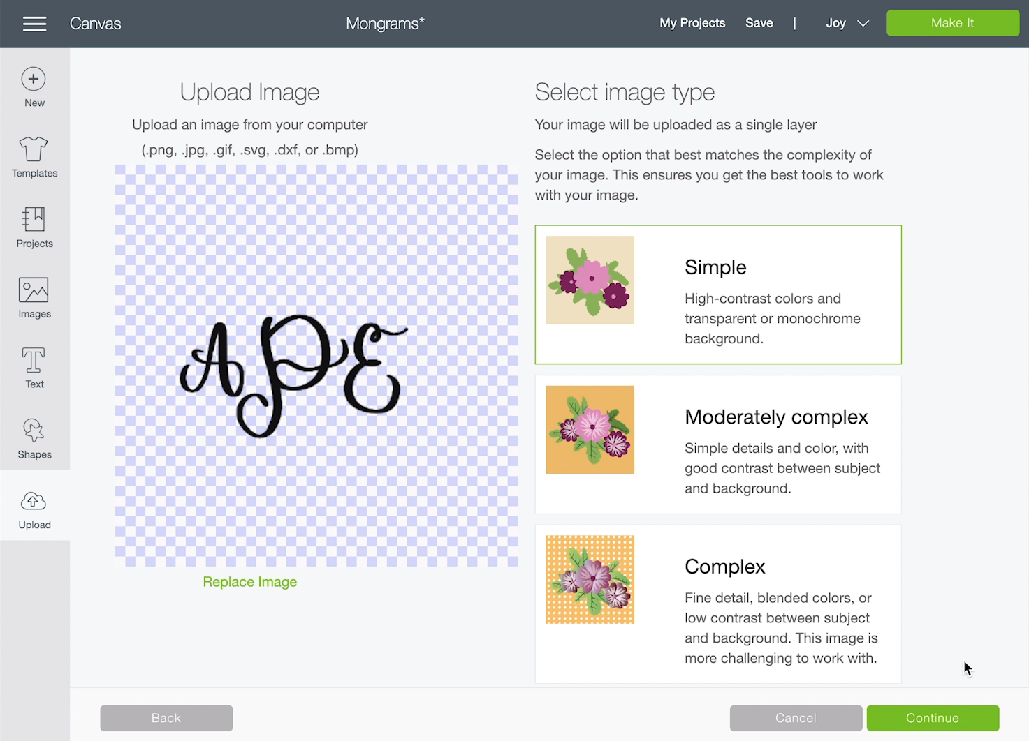 How to upload your own monogram to Cricut Design Space
