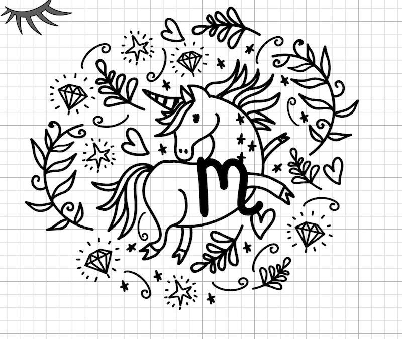 Modern Unicorn Monogram made in Cricut Design Space