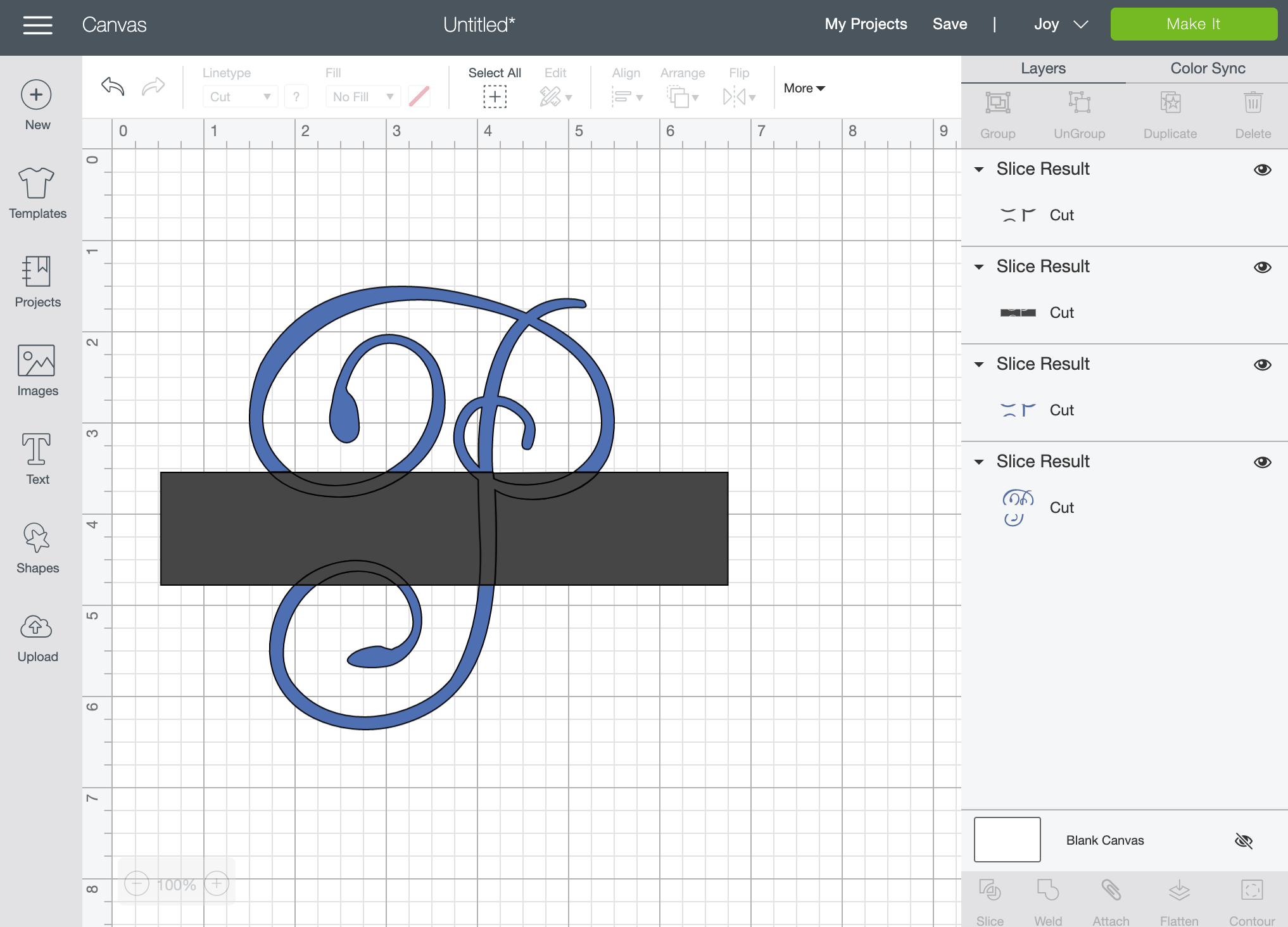How to make a knockout monogram in Cricut Design Space