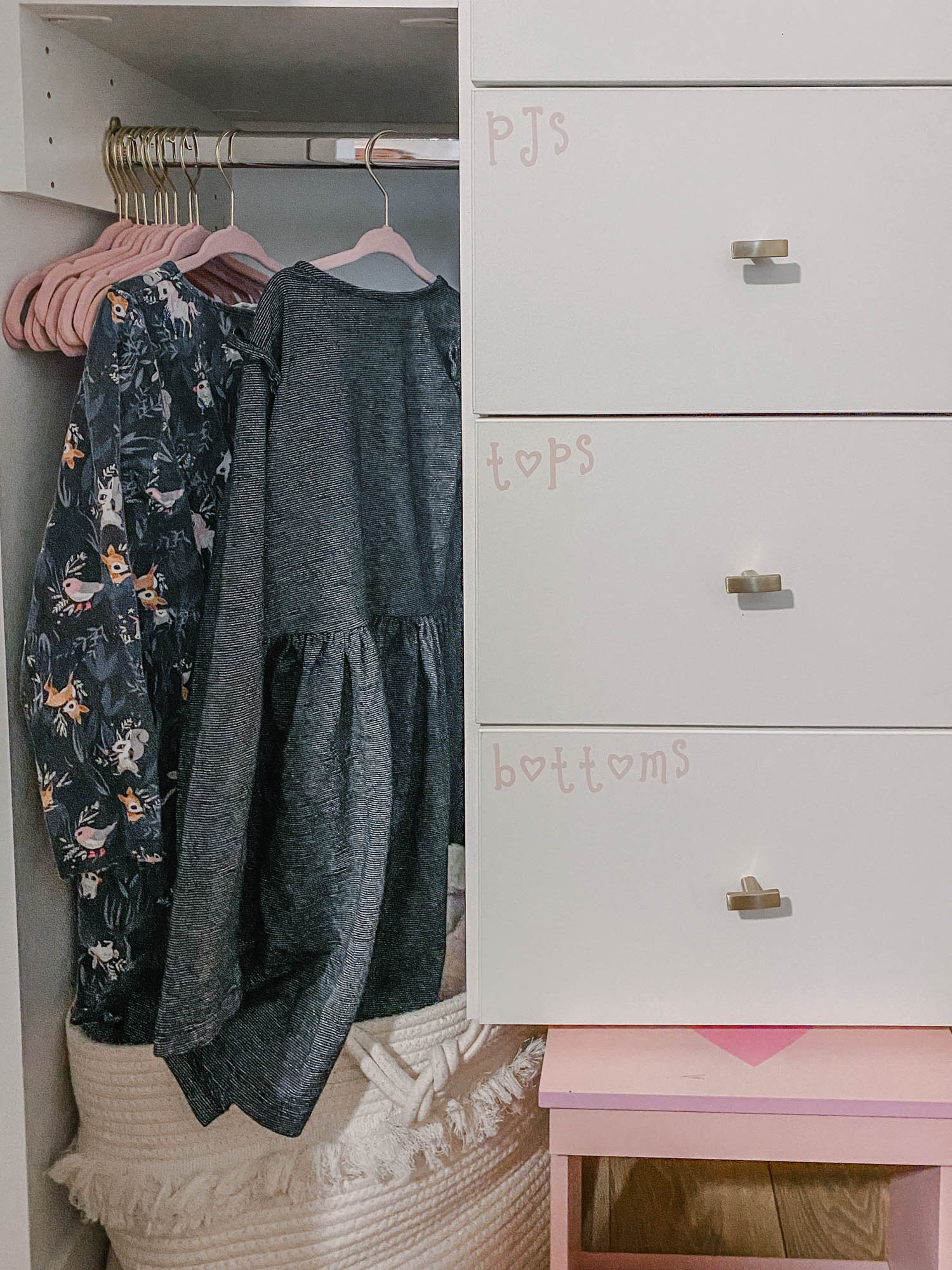 Label kids drawers to help them learn how to put away laundry