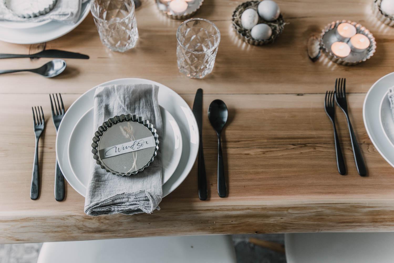 Easter tablescape using vintage tart pans