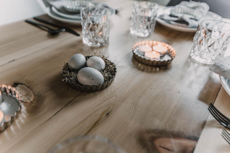 little easter egg nest using vintage tart pans for a spring tablescape