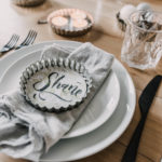 Tart pans as place cards- Love the bold brush lettering on the watercolor paper