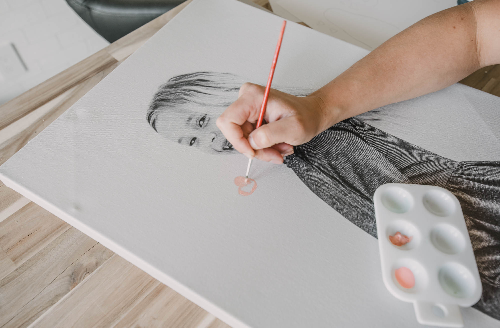 Paint on photo canvases