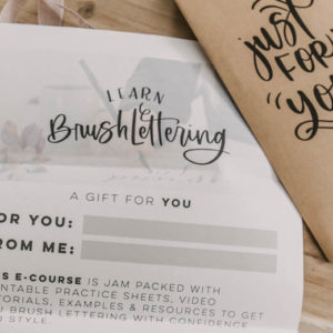 Gift Certificate to Learn Brush Lettering ECourse