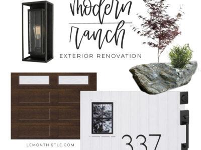 White Modern Ranch Exterior Plans