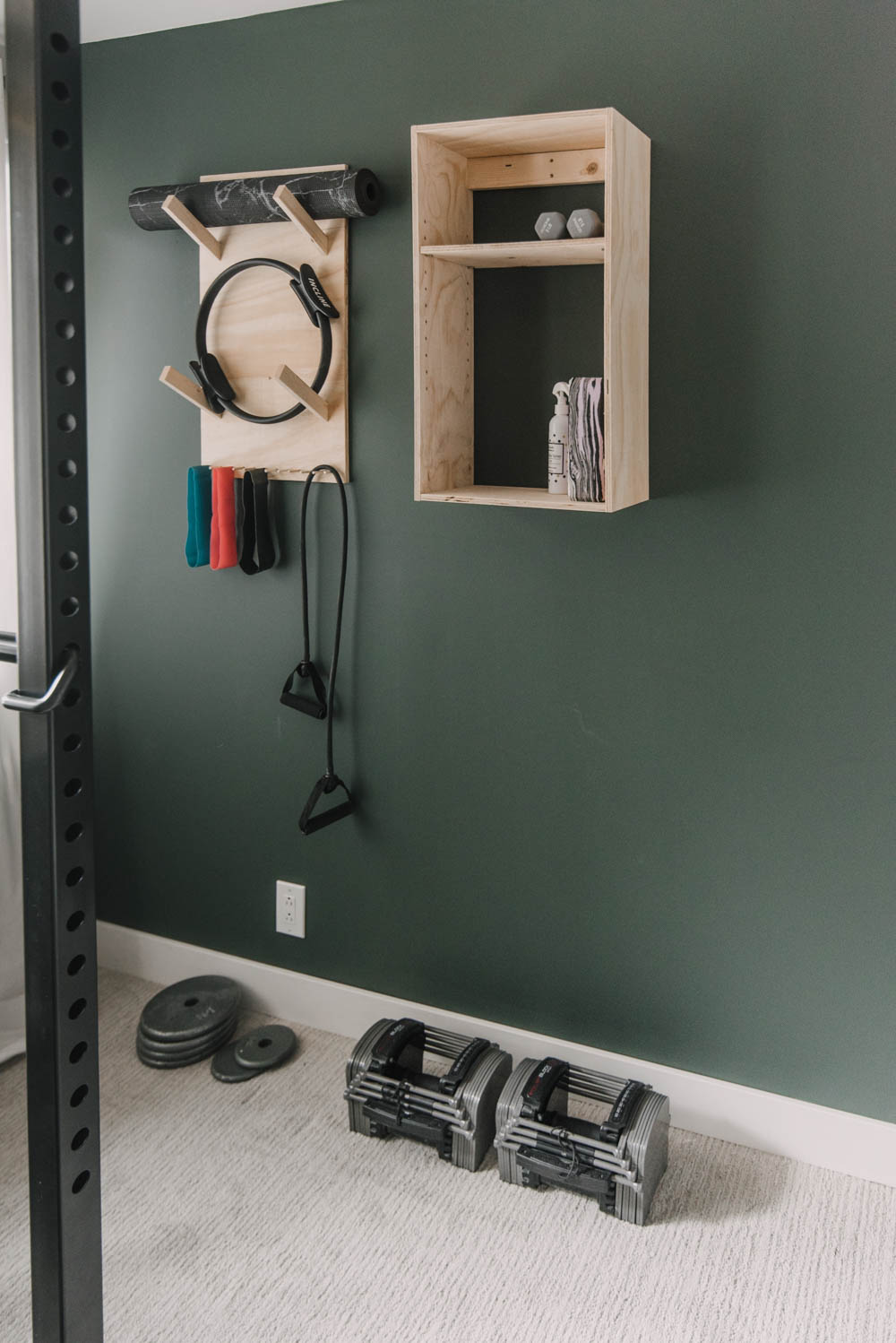 Simple exercise room storage shelves