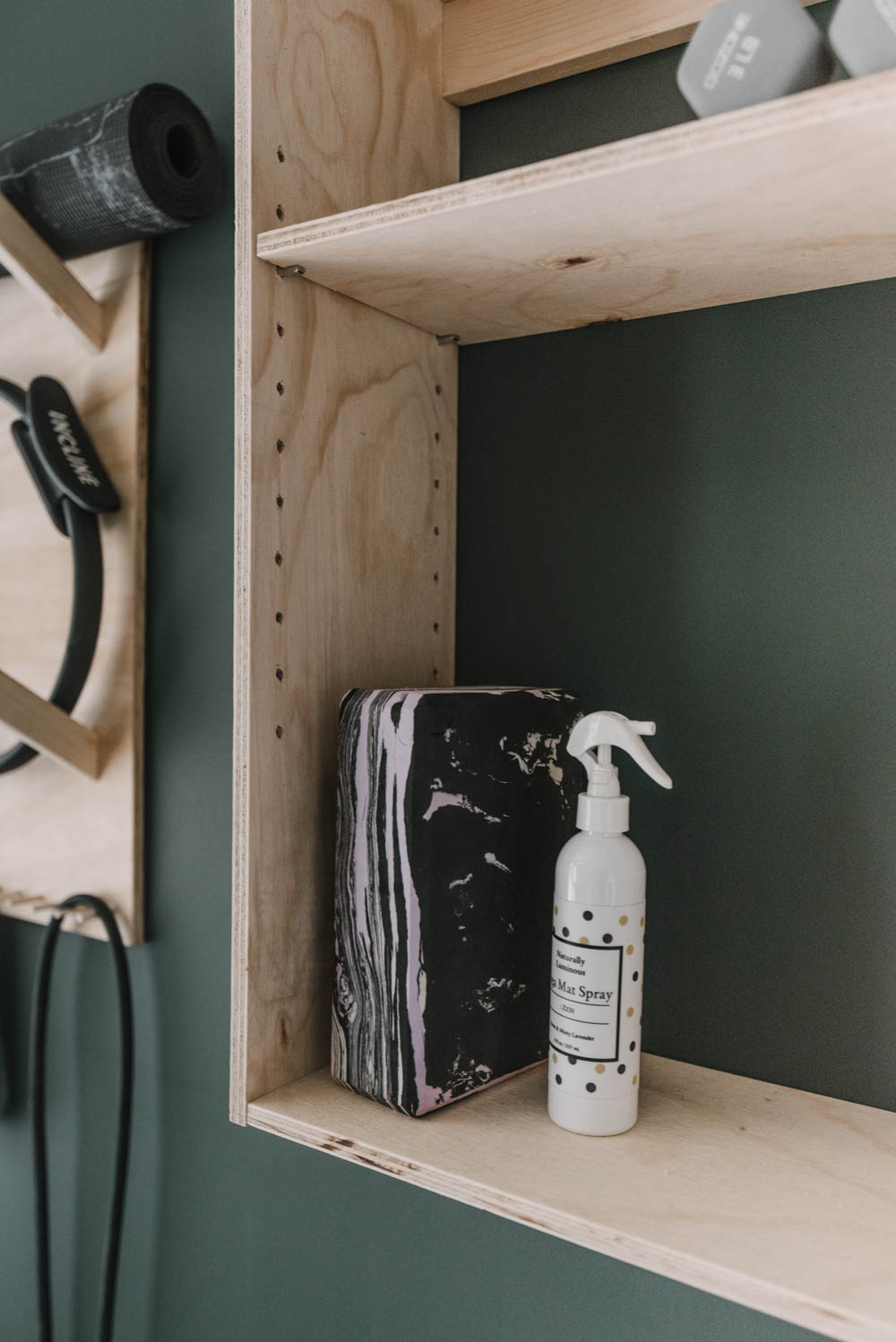 Wall Mounted storage for yoga equipment