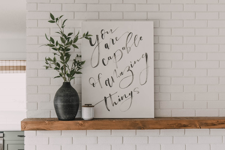 DIY brush lettered canvas