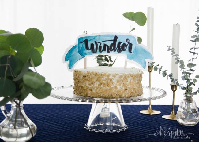 Watercolor Banner Cake Topper