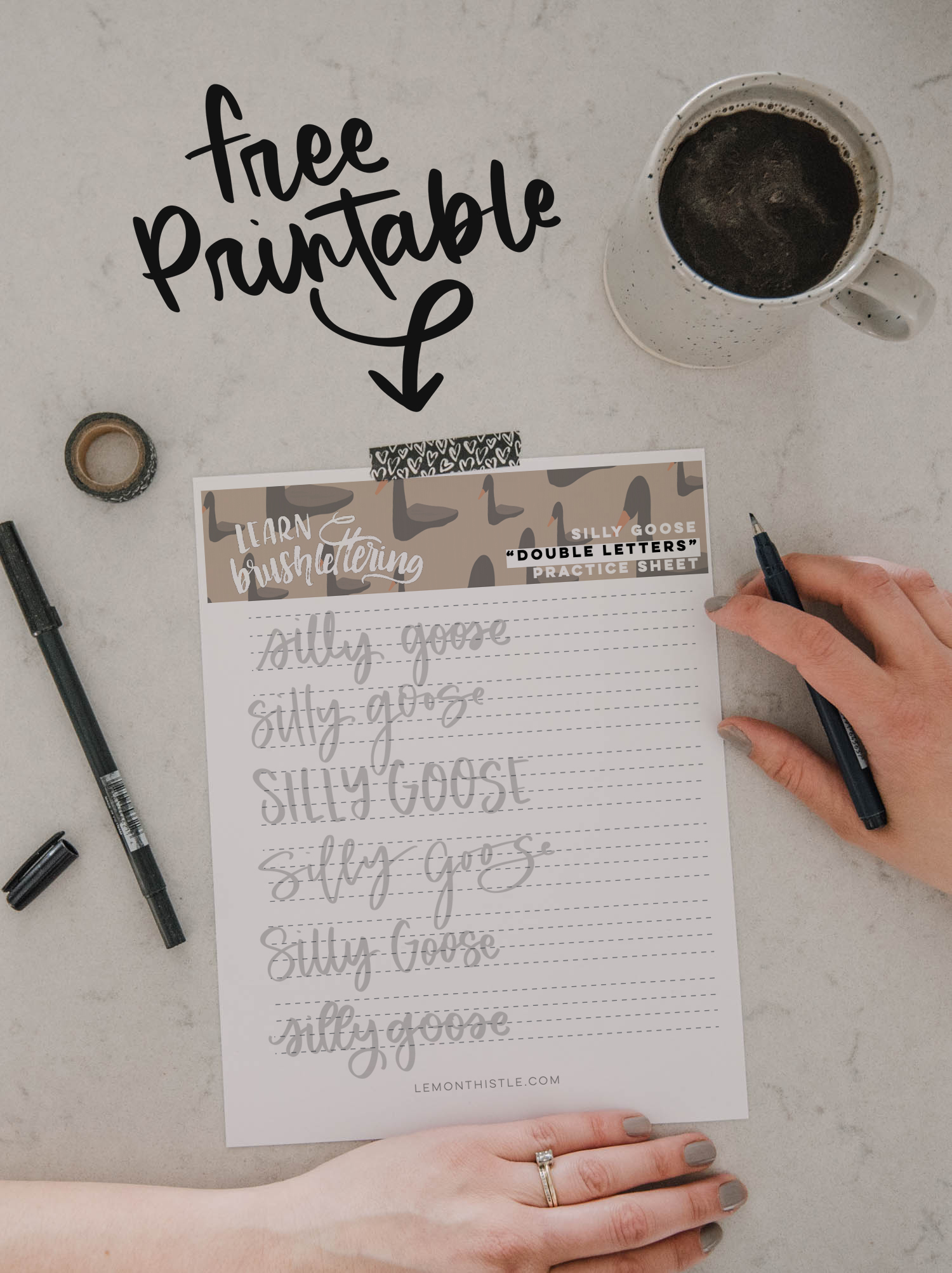 Double Letters Practice Sheet for Hand Lettering