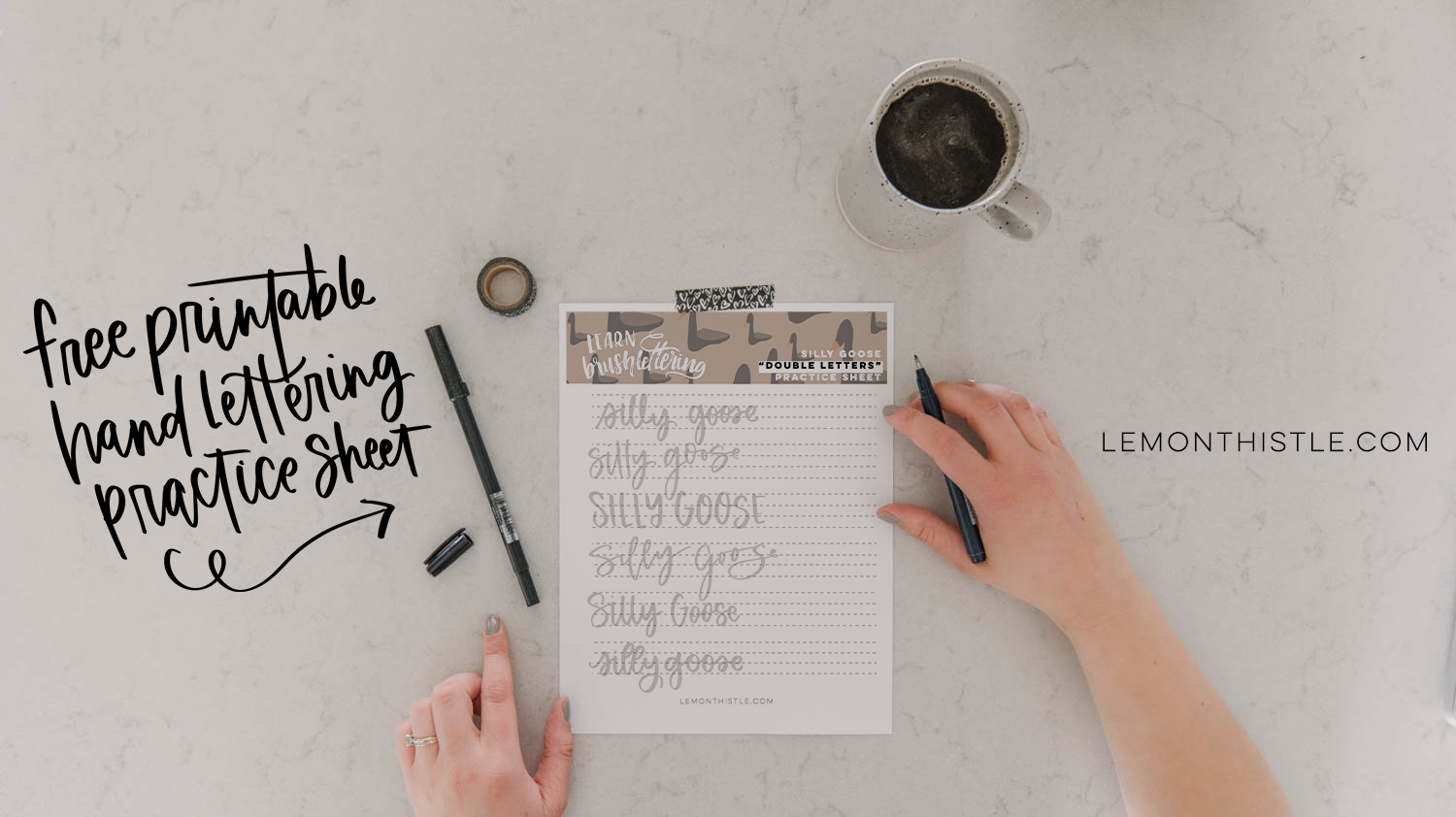 Free Printable Hand Lettering Practice Sheet