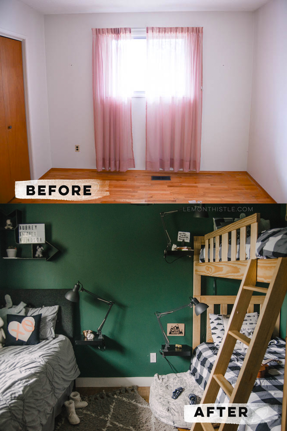 Shared Kids Bedroom makeover