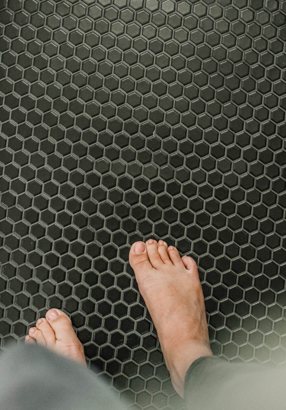 Tiny Matte hex tiles for a bathroom floor