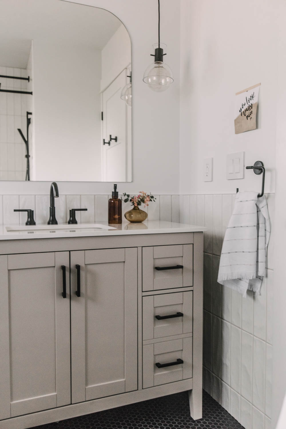 Modern details in this cozy bathroom remodel